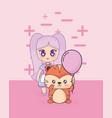 kawaii girl with cute animal vector image