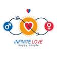 love couple conceptual logo unique symbol male vector image vector image