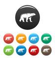 male polar bear icons set color vector image vector image