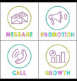 message and promotion set vector image vector image