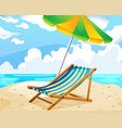 ocean scene with seat and umbrella on the beach vector image vector image