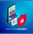 online payment protection concept square vector image