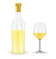open bottle of white wine with glass vector image vector image