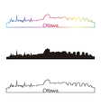 Ottawa skyline linear style with rainbow vector image vector image