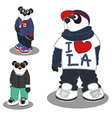 Panda lifestyle Fashion 3 vector image vector image