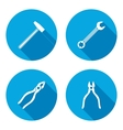 Pliers hammer wrench key icon Repair fix tool vector image