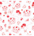 redwork mushrooms and bugs seamless repeat vector image vector image