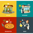 Restaurant or cafe concepts with waiter pizza and vector image
