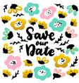 save date handwritten postcard vector image vector image