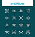set of 16 snowflake vector image