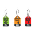 set of halloween sale tag halloween discount vector image