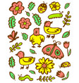 set with flowers and insects floral collection vector image vector image
