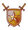 Star shield with crossed swords vector image