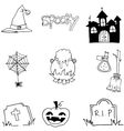 Tomb pumpkins broom element halloween doodle vector image vector image