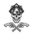 vintage monochrome skull in police hat vector image vector image
