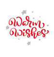 warm wishes red christmas vintage calligraphy vector image vector image