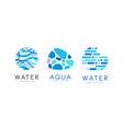 water logo design set clear aqua natural blue vector image