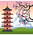 welcome japan mount fuji design vector image