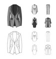 women clothing outlinemonochrome icons in set vector image vector image