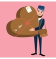 post man delivery guy bring package heart shape vector image