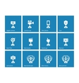 Awards icons on blue background vector image vector image