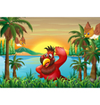 Birds at the riverbank near the coconut trees vector image vector image