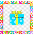 cartoon blue gift box wrapped with festive ribbon vector image vector image