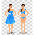 cartoon girl with long brown hair in blue dress vector image