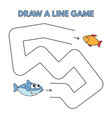 cartoon shark draw a line game for kids vector image vector image