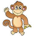 cartoon waving monkey with banana vector image