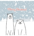 Christmas card with white bears vector image vector image