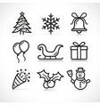 christmas celebration icons set vector image