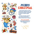 christmas postcard banner with cute characters vector image