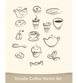 coffee doodle set isolated on white background vector image vector image