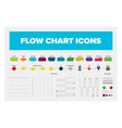 collection of flow chart objects including boxes vector image