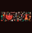 collection of traditional day of the dead symbols vector image vector image