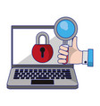 computer with padlock and magnifying glass vector image vector image