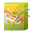 corn flakes paper packaging isolated on white vector image