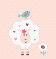 cute with funny sheep and bird vector image vector image