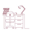 dark red line contour of desk home with chair and vector image vector image