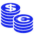 euro and dollar coin columns grunge icon vector image vector image