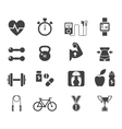 Fitness and diet icon set in black vector image vector image