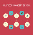 flat icons shovel swimming slippers and other vector image vector image