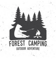Forest camping extreme adventure vector image