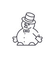funny snowman line icon concept funny snowman vector image vector image