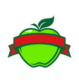 green apple with banner vector image vector image