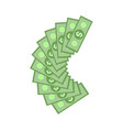 green dollar paper banknotes in fan isolated on vector image vector image