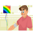 guy and colored blood transfusion vector image