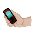 hand holding a cell phone vector image vector image