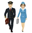 Handsome man and air hostess walking vector image